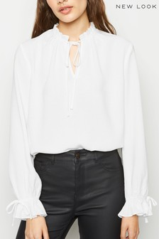 New Look Tie Neck Long Sleeve Blouse