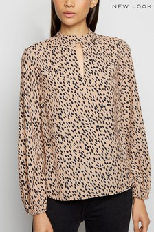 New Look Spot Keyhole High Neck Blouse