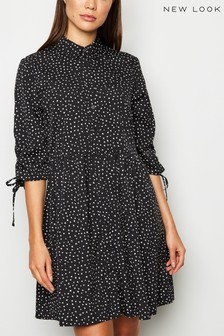 New Look Spot Tie Sleeve Shirt Dress