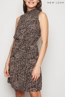 New Look Leopard Print Sleeveless Shirtdress