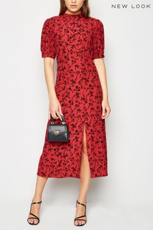 New Look Floral High Neck Split Hem Midi Dress