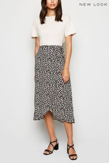 New Look Floral Wrap Midi Skirt