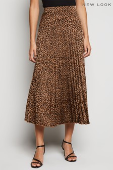 New Look Leopard Print Pleated Midi Skirt