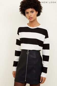 New Look Ring Pull Zip Leather-Look Mini Skirt