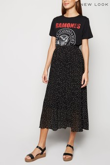 New Look Spot Print Pleated Midi Skirt