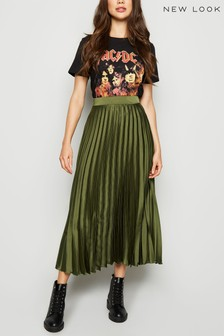 New Look Pleated Satin Midi Skirt