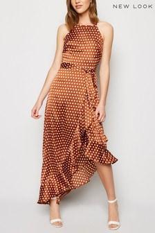 New Look Spot Satin Ruffle Midi Dress