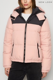 New Look Colour Block Hooded Padded Jacket