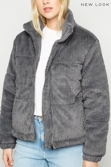 New Look Ribbed Faux Fur Padded Jacket