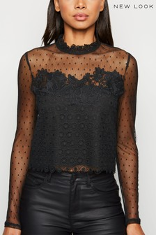 New Look Mesh and Lace Long Sleeve Top