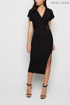 New Look Ribbed Belted Wrap Midi Dress