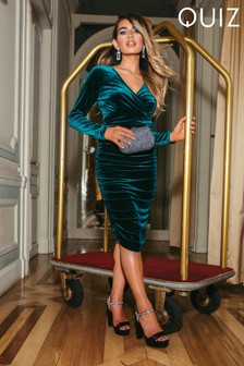 Quiz x Sam Faiers Velvet Long Sleeve Wrap Front Midi Dress