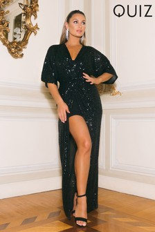 Quiz x Sam Faiers Sequin Knot Detail Batwing Sleeve Front Split Maxi Dress