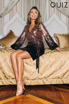 Quiz x Sam Faiers Sequin Ombre Wrap Front Balloon Sleeve Tie Belt Dress