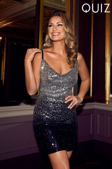 Quiz x Sam Faiers Sequin Ombre Cowl Neck Bodycon Dress