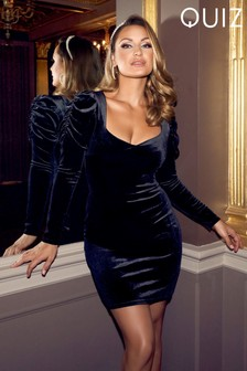 Quiz x Sam Faiers Velvet Sweetheart Neck Long Puff Sleeve Bodycon Mini Dress