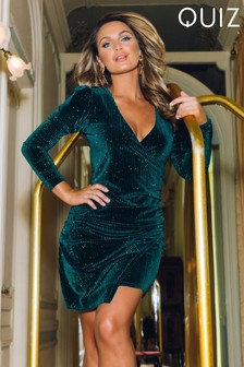 Quiz x Sam Faiers Velvet Glitter Texture Wrap Front Long Sleeve Bodycon Dress