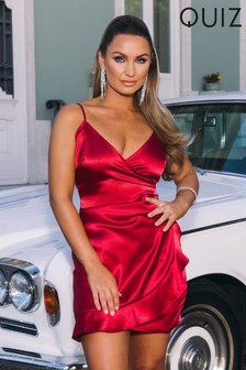 Quiz x Sam Faiers Silky Wrap Front Thin Strap Frill Detail Mini Dress