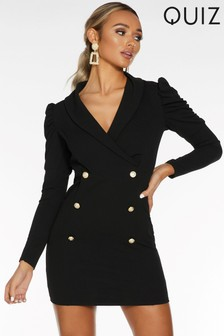 Quiz Button Long Puff Sleeve Mini Blazer Dress