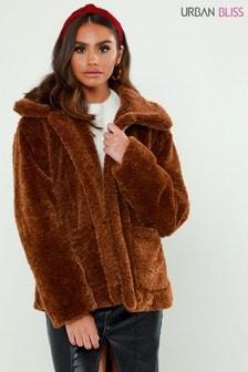 Urban Bliss Borg Faux Fur Collar Jacket