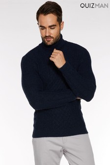 Quiz Roll Neck Cable Knit Jumper