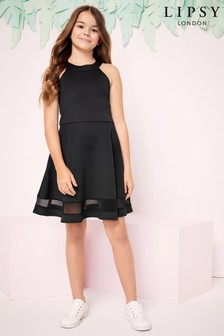 Lipsy Girl Hi Neck Scallop Scuba Dress