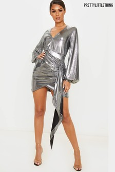 PrettyLittleThing Foil Mini Dress