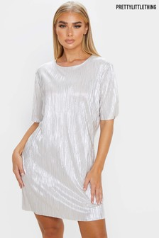 PrettyLittleThing Metallic Plisse T-Shirt Dress