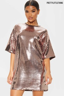 PrettyLittleThing Glitz Oversized Sparkle T-Shirt Dress
