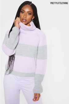 PrettyLittleThing High Neck Chunky Knit Stripe Jumper