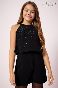 Lipsy Girl Diamanté Playsuit
