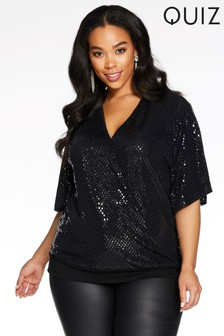 Quiz Curve Glittery Wrap Front Batwing Sleeve Top