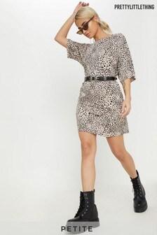 PrettyLittleThing Petite Leopard Print Oversized T-Shirt Dress