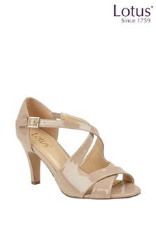 Lotus Patent Heeled Cross Strap Sandals
