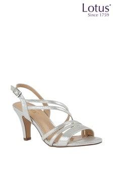 Lotus Heeled Shimmer Sandals