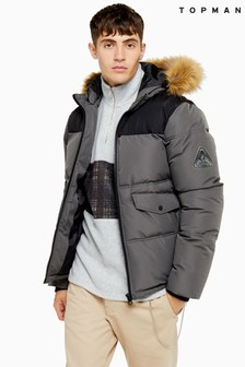 Topman Faux Fur Hooded Padded Jacket