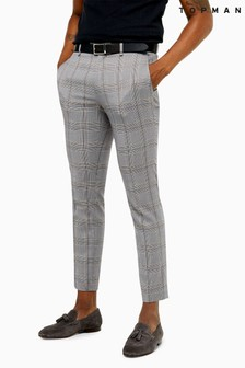 Topman Check Skinny Smart Trousers