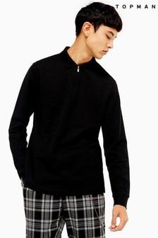 Topman Long Sleeve Zip Polo T-Shirt
