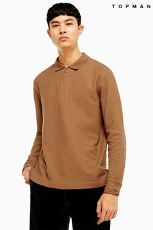 Topman Long Sleeve Zip Polo T-Shirt