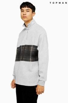 Topman Check Panel 1/4 Zip Sweatshirt