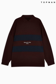 Topman Colour Block Rugby Top