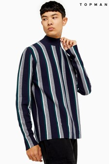 Topman Stripe Half Zip Jumper