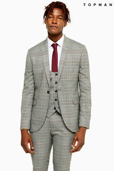 Topman Check Skinny Fit Single Breasted Blazer with Peak Lapels