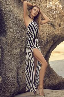 Abbey Clancy x Lipsy Zebra Halterneck Maxi Dress