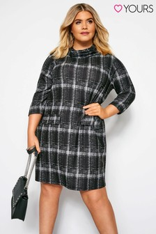 Yours Roll Neck Check Grey Pocket Tunic