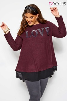 Yours Curve Wrap Back Love Top