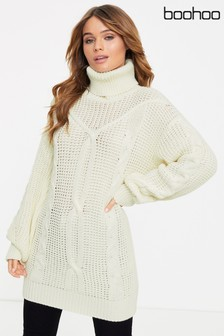 Boohoo Oversized Cable Knit Roll Neck Jumper