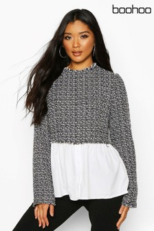 Boohoo Boucle High Neck Shirt
