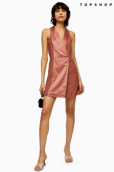 Topshop Satin Tux Dress