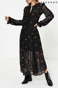 Topshop Sheer Embroidered Floral Midi Dress